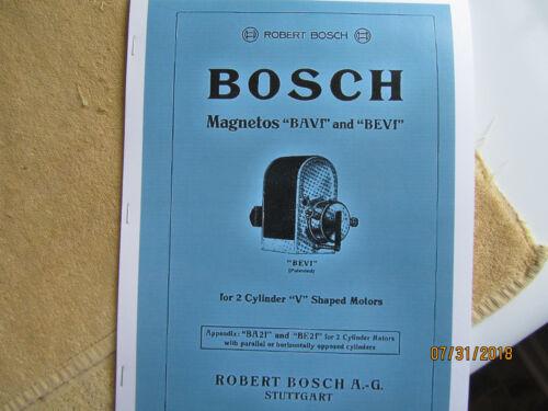 Robert Bosch BAVf BEVf Magneto operation/care/ parts Manual