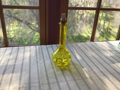 Vintage yellow Glass Vanity Bottle, Decanter; Long Neck  9 3/4""