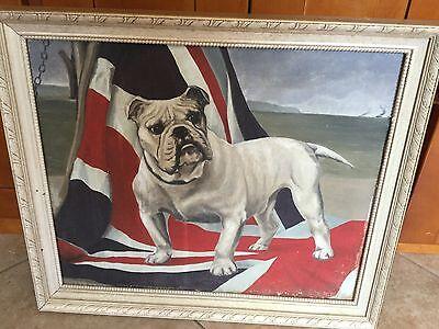 Antique WWI Folk Art Bulldog Union Jack Oil Painting on Canvas