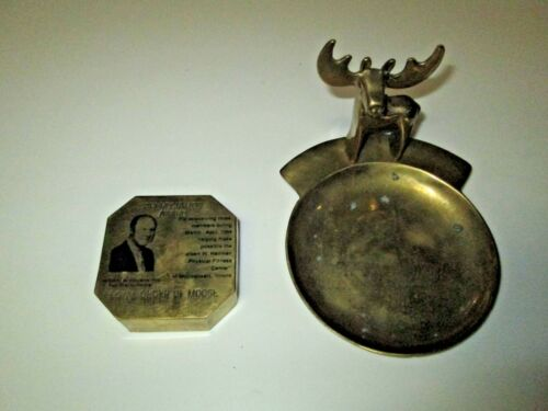 Vintage Lot Loyal Order of Moose Brass Membership Appreciation Award Tray Weight