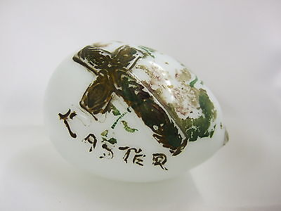 Antique Hand Blown Milk Glass Easter Egg with Cross