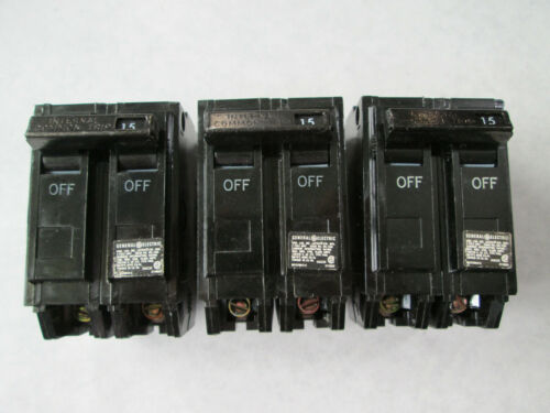 Lot of 3 NOS General Electric THQL2115 Circuit Breakers (15A, 120/240V, 2 Pole)