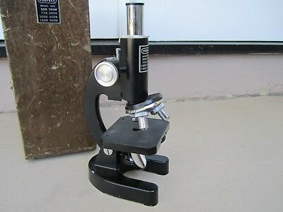 Vintage 1970s Perfect Model 805 Microscope With Original Wooden Case-japan