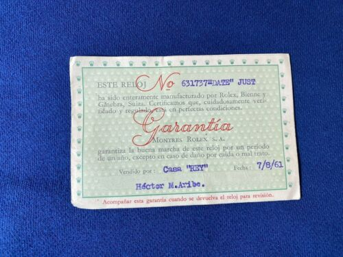 Rolex Certificate Guarantee Warranty For a Datejust from 1961