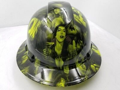 Hard Hat Full Brim Custom Hydro Dipped Osha Approved Lime Green Spanish Lolita