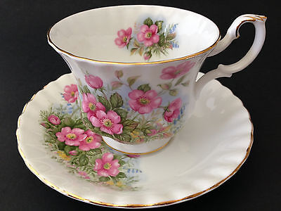 Royal Albert Sunnyside Series PETULA cup and saucer white pink flowers
