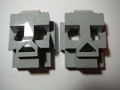 LEGO LOT OF 2 LIGHT BLUISH GRAY ROCK SKULL PANEL 4X10X10 #3827 #7074 #47991
