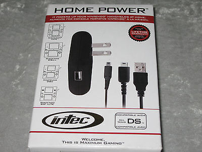 Intec Nintendo DS Home Power Gaming Cables Plug Charge Continuous Play NEW!