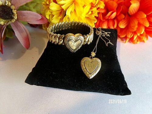 Vintage CO-STAR Made U.S.A. Engraved Gold Heart Expansion Bracelet Pendant Set