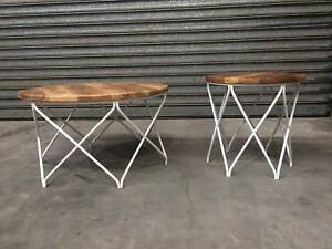 NEW ROUND COFFEE TABLE: DOMENIQUE TIMBER TOP CROSSED WHITE STEEL Leumeah Campbelltown Area Preview