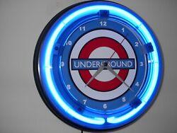 London Underground Subway Train Station Advertising Blue Neon Wall Clock Sign