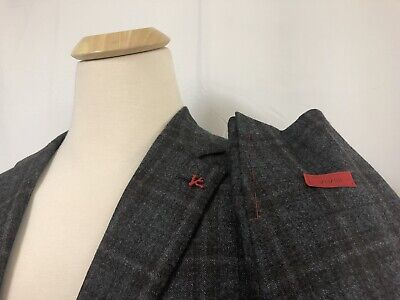 NWT Isaia Double Play Sanita Gray/Brown Check 120's Blazer 56R/46R $3850.00