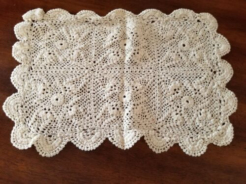 """Vintage Off-White Hand Crochet Set of 4 Placemats--15"""" x 11"""""""