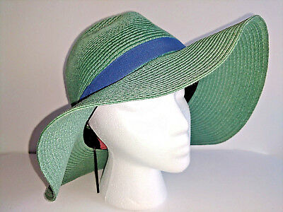 Hat THEODORA AND CALLUM T & C Sun Hat Fedora Womens Size 0S Green Blue New NWT