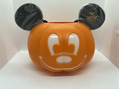 Disney Parks Mickey Mouse Pumpkin Halloween Light Up Trick or Treat Bucket