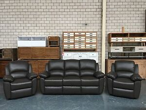 ELSWICK - GENUINE LEATHER LOUNGE SET 3+1+1 DARK BROWN Leumeah Campbelltown Area Preview