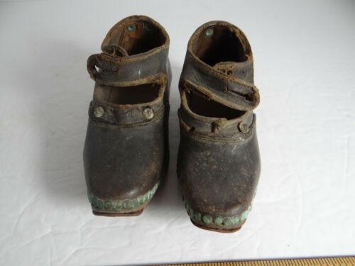 Antique Pennsylvania Dutch Child Brown Leather Shoes Horseshoe Soles