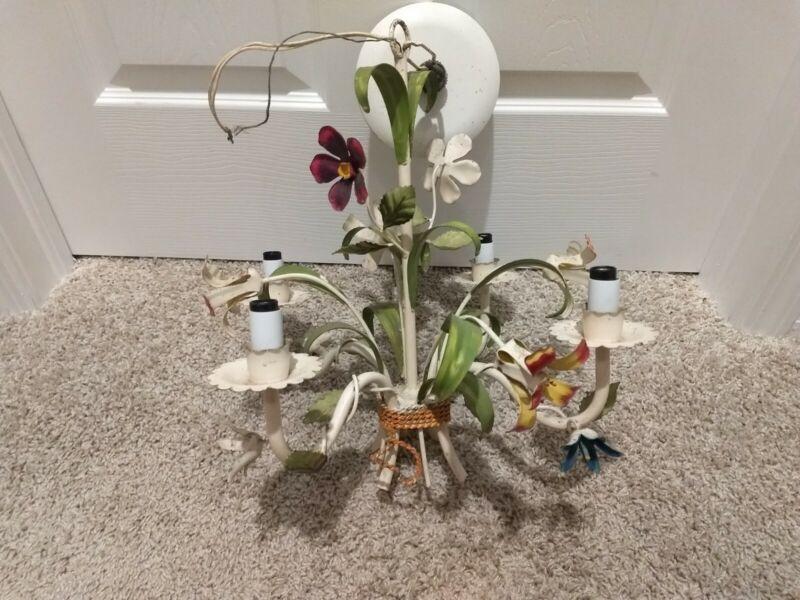 Vintage Italian Tole Metal Chandelier Flowers Shabby Chic 4 Light