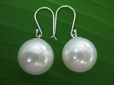 925 sterling silver Seashell Pearl 14mm White Bridal Bride Dangling Earring GIRL
