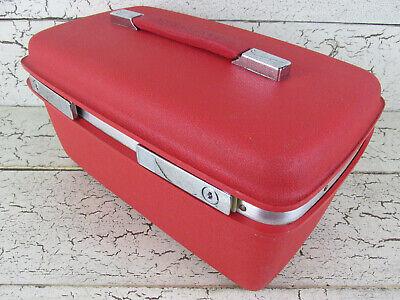 Samsonite Makeup Hard Train Case Red Luggage Sewing Storage Vintage USA