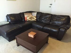 Corner Lounge & Coffee table (Can Delivery) Prestons Liverpool Area Preview