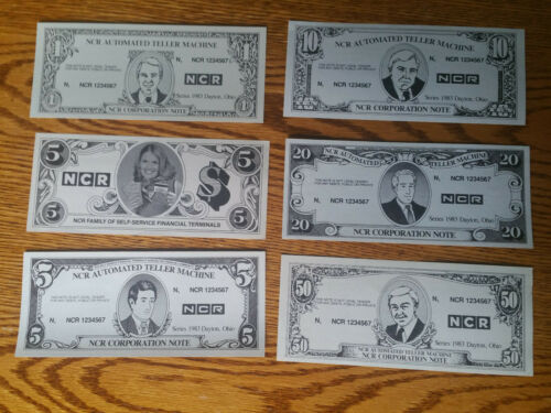 NCR ATM TEST CURRENCY,SERIES 1983 DAYTON,OHIO $1,$5,$5,$10,$50 ,CRISP