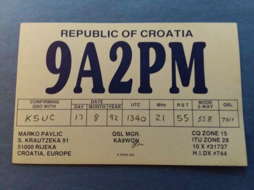 9A2PM- REPUBLIC OF CROATIA- RIJECA- MARKO PAVLIC- 1992- QSL
