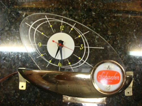 VINTAGE SCHAEFER LIGHTED BEER CLOCK- ATOMIC SAILBOAT-CASH REGISTER SIGN
