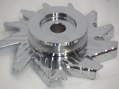 Universal Chrome Chevy Ford Single Groove Alternator Pulley and Fan Kit