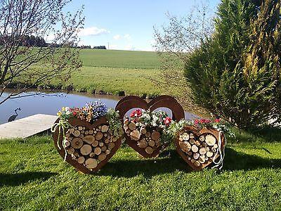 Herz aus Metall - Holz-Regal - Edel-Rost - Garten Terrasse - Deko -  SET!!