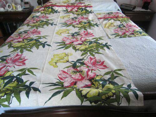 Vintage BARKCLOTH Tropical Floral Pattern DRAPERY PANEL & VALANCE c1940-50
