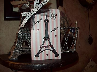 Paris chic decor pink stripes Bonjour Eiffel Tower block shelf sitter French