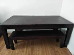 OZ DESIGN Furniture solid wood dining table & bench seats set