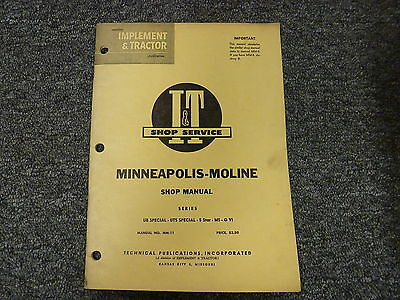 Minneapolis Moline G Vi M5 5 Star Ub Uts Special Tractor Service Repair Manual