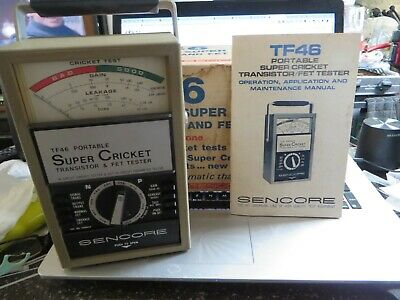 Sencore Tf46 Super Cricket Transistor Fet Tester With Manual And Box Euc