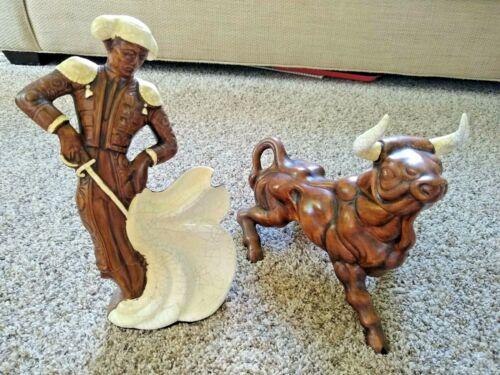 "Vintage Ceramic Matador Bullfighter Bull Statue 13"" Treasure Craft Brown Crackle"