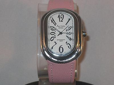 LADIE'S ACTIVA SWISS WATCH W/WHITE FACE, BLACK #'S & PINK CLOTH BAND WR 30M P143