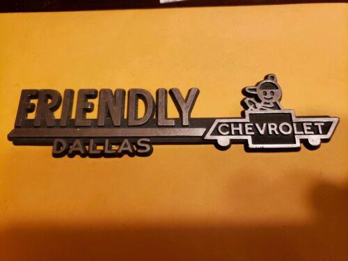 Friendly--Chevrolet--Dallas--(PLASTIC)Dealer Emblem Car  vintage SM66