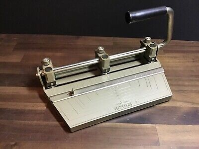 Vintage Boston 3-hole Punch - Adjustable - Heavy-duty A No Catch Pan