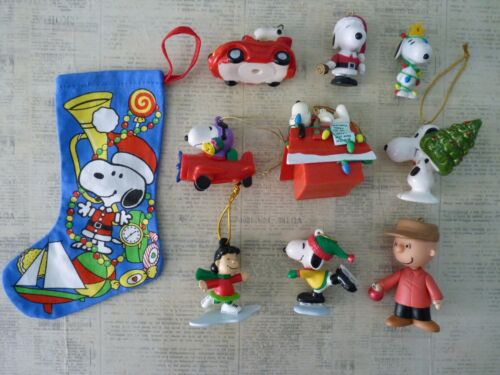 Lot of (10) Peanuts Character Figure Holiday Ornaments Snoopy Charlie Brown Lucy