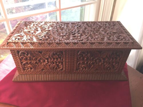 Vintage Large Hand Made Hand Carved Teak Java Wood Jewelry Cabinet  Box 16""
