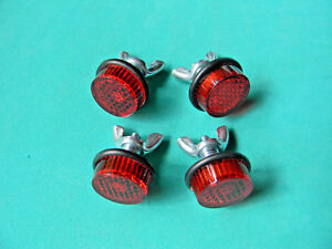 License Plate RED REFLECTORS Bolts set of 4 MADE in USA by Chris Products NEW