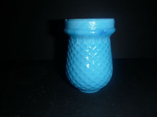 Antique Vintage Victorian Blue Milk Glass Diamond Quilted Christmas Fairy Light