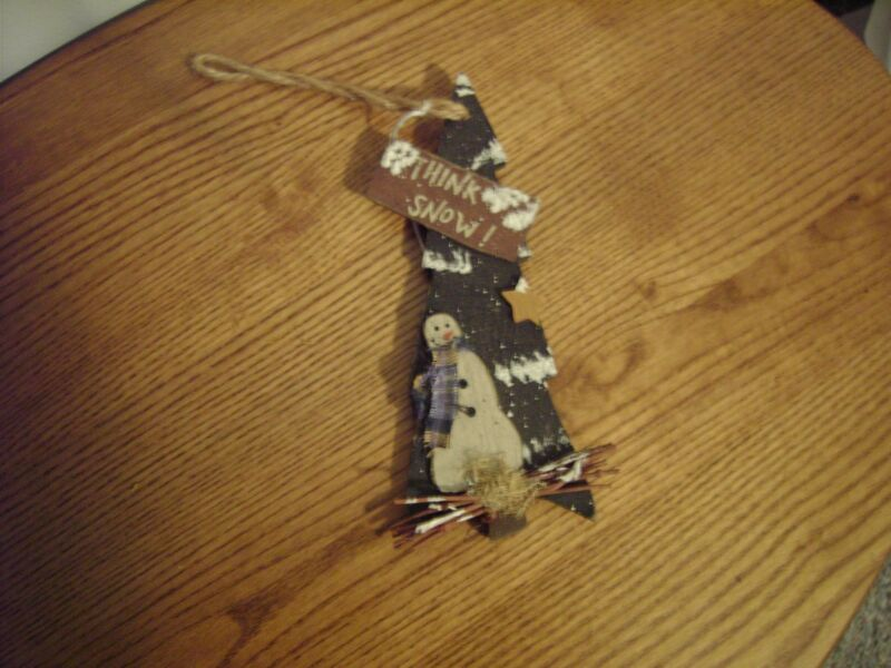 """Christmas Wall Hanging/ Ornament - Think Snow Tree with Snowman Multi color 7"""""""