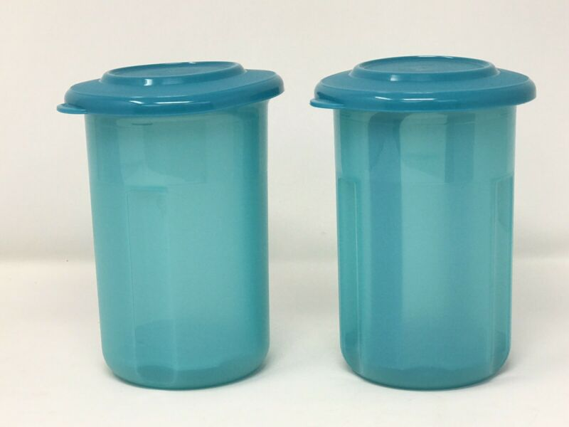 Set of 2 - Tupperware Round Mini 2 Cup Pickle Olive Keeper Sheer Blue New