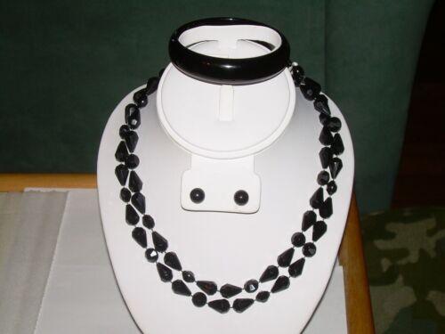 Black Bead Jewelry Set - Necklace, Earrings, Bracelet