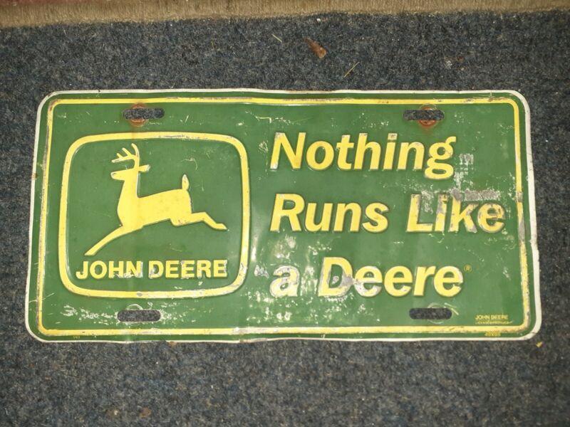 VINTAGE JOHN DEERE Logo Metal License Plate 1950- 60