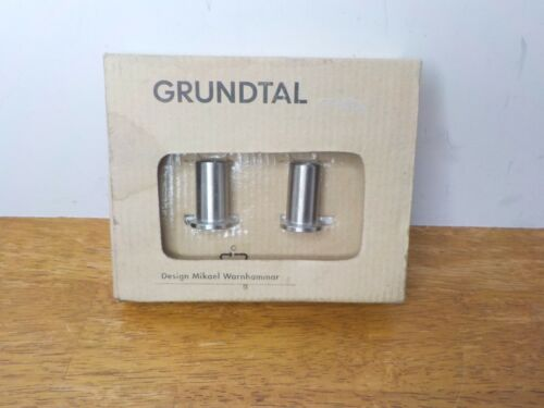 IKEA Grundtal Set of 2 Wall Mount Stainless Steel Knobs 300.612.47