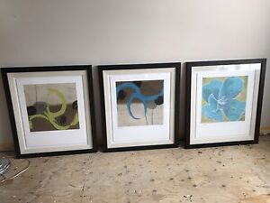 Original canvas paintings and framed work.
