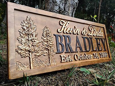 Personalized Cabin Sign Lakehouse Home Decor Custom Wood Couple Anniversary Gift